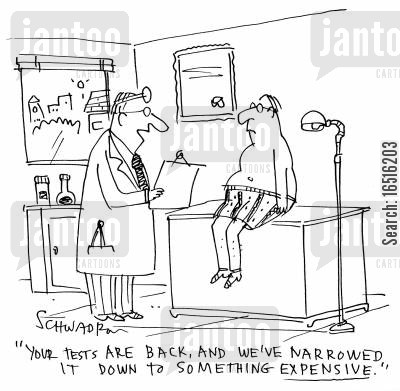 health insurances cartoon humor: 'Your tests are back, and we've narrowed it down to something expensive.'