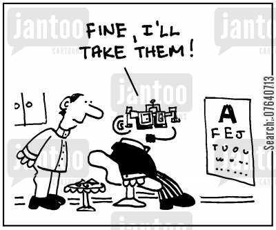 spectacle cartoon humor: 'Fine, I'll take them.'