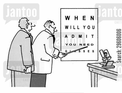 eyes cartoon humor: When will you admit you need glasses.