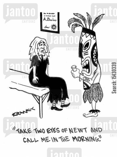 eyes of newt cartoon humor: 'Take two eyes of newt and call me in the morning.'