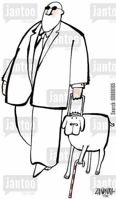 partially sighted cartoon humor: Blind man with a partially sighted guide dog.