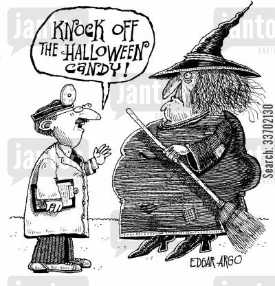 fat witch cartoon humor: 'Knock off the Halloween candy!'