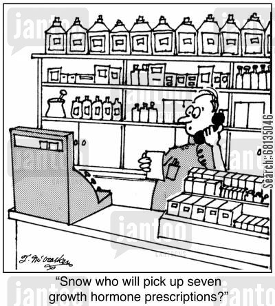 drug store cartoon humor: 'Snow who will pick up seven growth hormone prescriptions?'