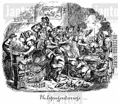 domestic life cartoon humor: Phrenological Illustrations- Chaos of Large Families