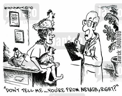 stereotyping cartoon humor: 'Don't tell me... you're from Nevada, right?'