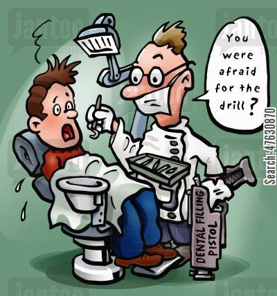 dental nurses cartoon humor: 'You were afraid for the drill?'