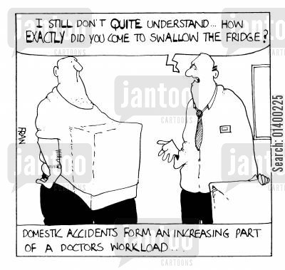 domestic accident cartoon humor: Swallowing a fridge - Domestic Accicents Form An Increasing Part Of A Doctors Workload