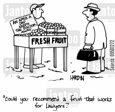 greengrocer cartoon humor: 'Could you recommend a fruit that works for lawyers?'