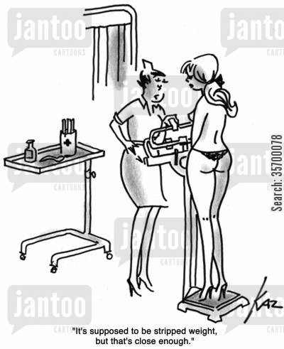 thong cartoon humor: 'It's supposed to be stripped weight, but that's close enough.'