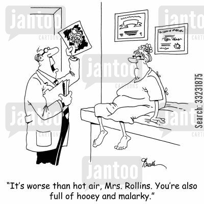 diganose cartoon humor: 'It's worse than hot air, Mrs. Rollins. You're also full of hooey and malarky.'