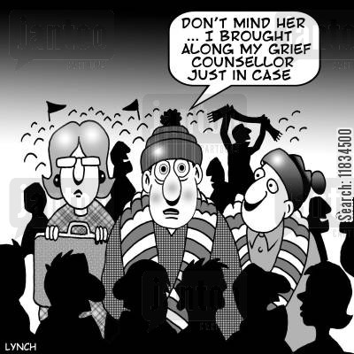 grief counsellors cartoon humor: 'Don't mind her...I brought along my grief counsellor just in case.'