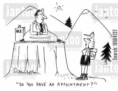 enlightened one cartoon humor: DoctorGuru - 'Do you have an appointment?'