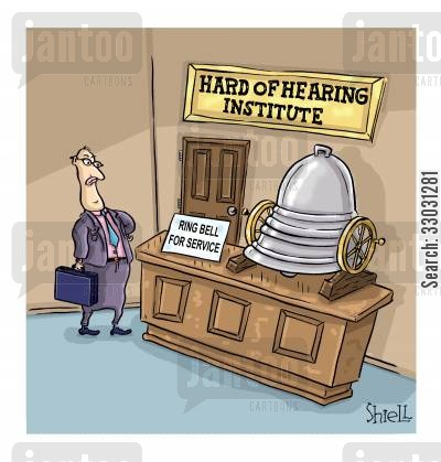 business office cartoon humor: Hard of Hearing Institute.