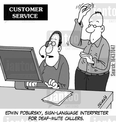 interpreter cartoon humor: Edwin Pobursky, sign-language interpreter for deaf-mute callers.