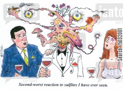 allergic reactions cartoon humor: 'Second-worst reaction to sulfites I have ever seen.'