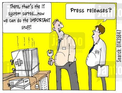 npfit cartoon humor: 'There, that's the IT system sorted...now we can do the important stuff.'