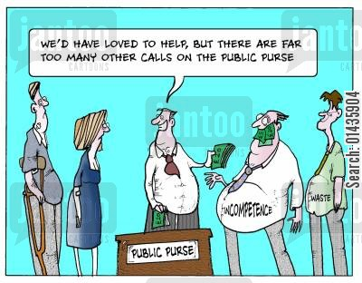 resource cartoon humor: 'We'd have loved to help, but there are far too many other calls on the public purse.'
