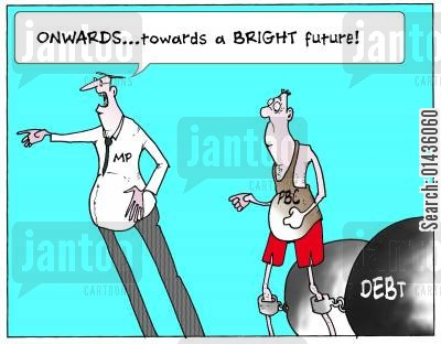 consortia cartoon humor: 'Onwards...towards a bright future.'