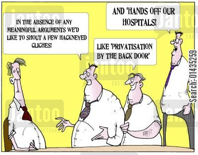 privatizations cartoon humor: 'In the absence of any meaningful arguments we'd like to shout a few hackneyed cliches!'