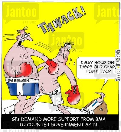 british medical association cartoon humor: GPs demand more support from BMA to counter government spin.
