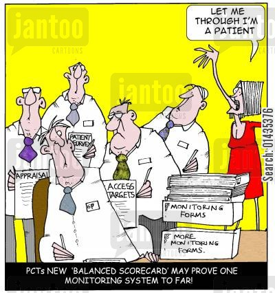 pcts cartoon humor: PCTs New 'Balanced Scorecard' may prove one monitoring system to far.