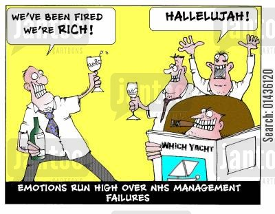 cutback cartoon humor: Emotions run high over NHS management failures.