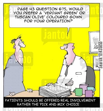 nhs reforms cartoon humor: Patients should be offered 'real choice' rather than the 'Pick and Mix' of 'choose and Book'