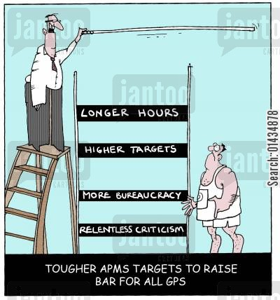 higher targets cartoon humor: Tougher Arms Targets To Raise Bar For All GPs.