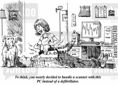 technological cartoon humor: 'To think, you nearly decided to bundle a scanner with this PC instead of a defibrillator.'