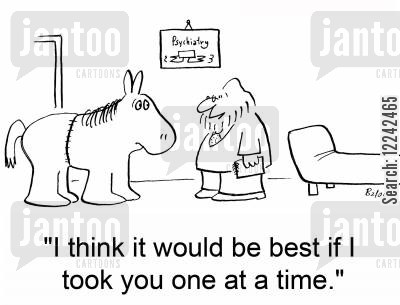pantomime horse cartoon humor: 'I think it would be best if I took you one at a time.'