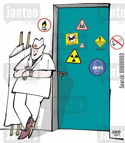 health warning cartoon humor: Paramedic waiting outside a door with hazard signs.