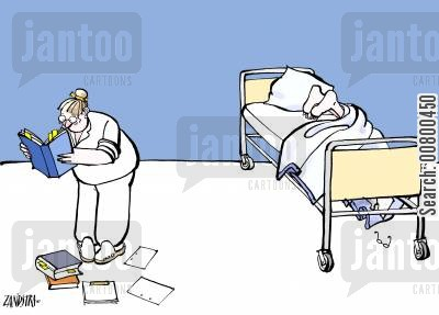 collapses cartoon humor: Clueless nurse with collapsed patient.