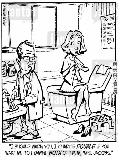 cancers cartoon humor: 'I should warn you, I charge double if you want me to examine both of them, Mrs. Jacobs.'