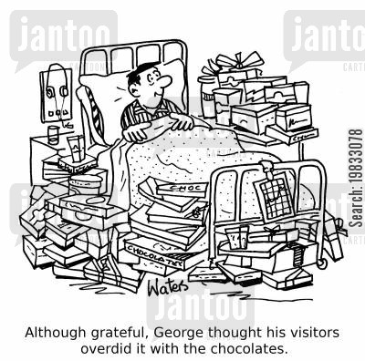 hospital ward cartoon humor: Although grateful, George thought his visitors overdid it with the chocolates.