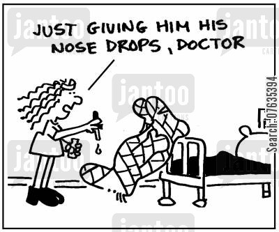 traction cartoon humor: Just giving him his nose drops.