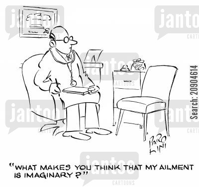 multiple personality cartoon humor: 'What makes you think that my ailment is imaginary?'