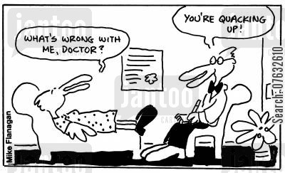 cracked up cartoon humor: What's wrong with me doctor? You're quacking up!