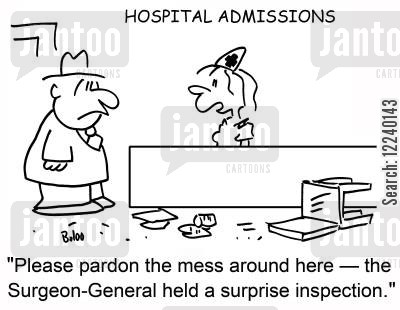surgeon general cartoon humor: 'Please pardon the mess around here -- the Surgeon-General held a surprise inspection.:'
