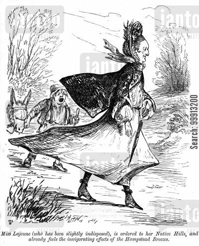Woman walking in the wind