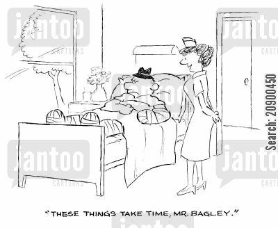 broken limbs cartoon humor: 'These things take time, Mr. Bagley.'