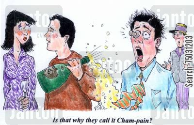 sparkling wine cartoon humor: 'Is that why they call it Cham-pain?'