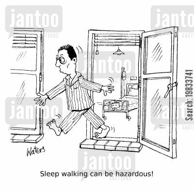 snooze cartoon humor: Sleep walking can be hazardous!