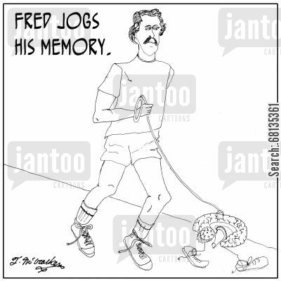 neurologist cartoon humor: Fred jogs his memory.