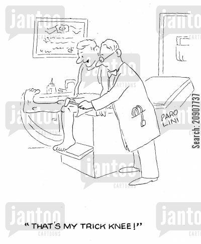 medical check ups cartoon humor: 'That's my trick knee!'