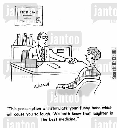 funny bone cartoon humor: 'This prescription will stimulate your funny bone which will cause you to laugh. We both know that laughter is the best medicine.'