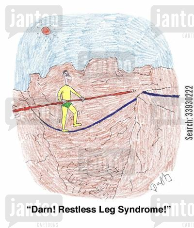 daredevil cartoon humor: 'Darn! Restless Leg Syndrome!'