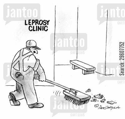 sweeps cartoon humor: Leprosy Clinic.