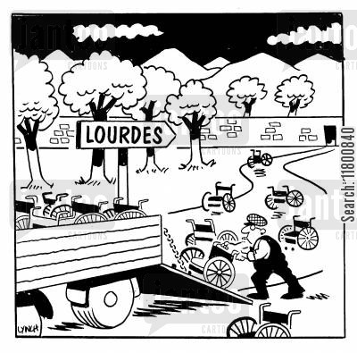 pilgrimage cartoon humor: Wheelchair Returns after Lourdes