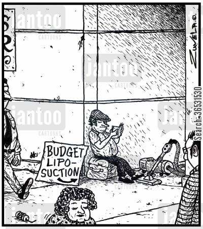 liposuction cartoon humor: Budget Liposuction.