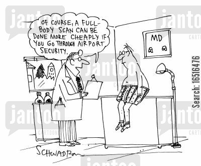 airport security cartoon humor: 'Of course, a full-body scan can be done more cheaply if you go through airport security.'